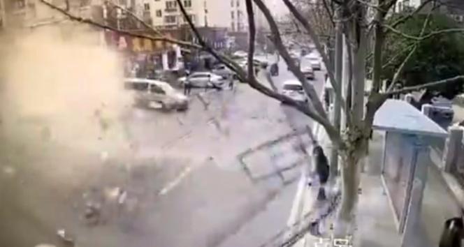Ortalığı savaş alanına çeviren patlama kamerada