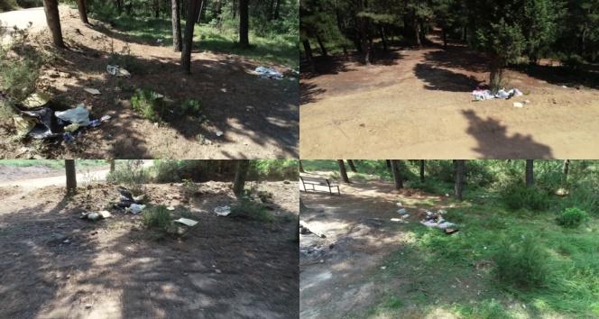 Piknikçiler Aydos Ormanını çöplüğe çevirdi