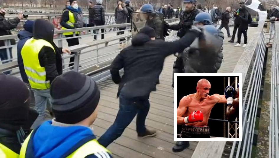 Sarı Yelekliler Protestoları Sırasında Yumruklarıyla Polisleri Dağıtan Protestocu