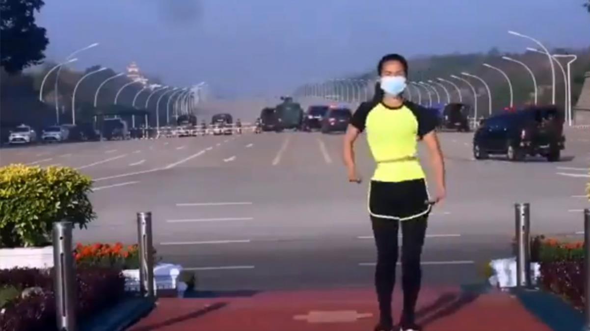 Aerobik yaparken video çeken kadın, farkında olmadan darbenin ilk anlarını kaydetti