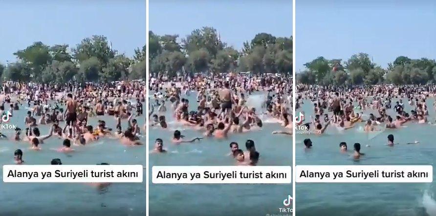'Allah'u Ekber' Diyerek Alanya'da Denize Giren Suriyeli Mülteciler