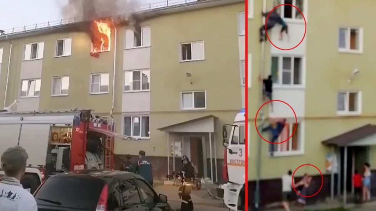 Anne-baba evin kapısını kilitleyip içmeye gitti, yangında mahsur kalan çocukları komşular boruya tırmanarak kurtardı