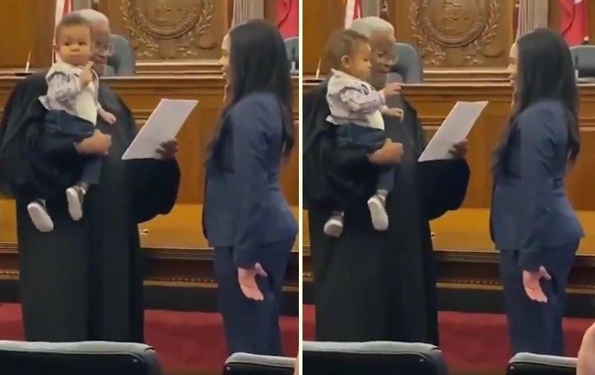 Annesi Avukatlık Yemini Ederken Kadının Çocuğunu Kucağına Alarak Yemine Şahitlik Etmesini Sağlayan Yargıç!