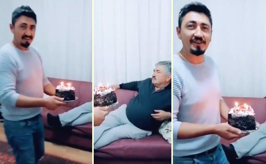 Babasının Doğum Gününü Kutlayan Genç ve O Sürpriz Karşısında Umursamaz Tavır Sergileyen Baba