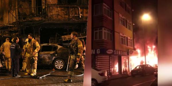 Bahçelievler'de Otomobil Markete Çarptı: Kaza Sonucu Market ve Otomobil Alev Alev Yandı