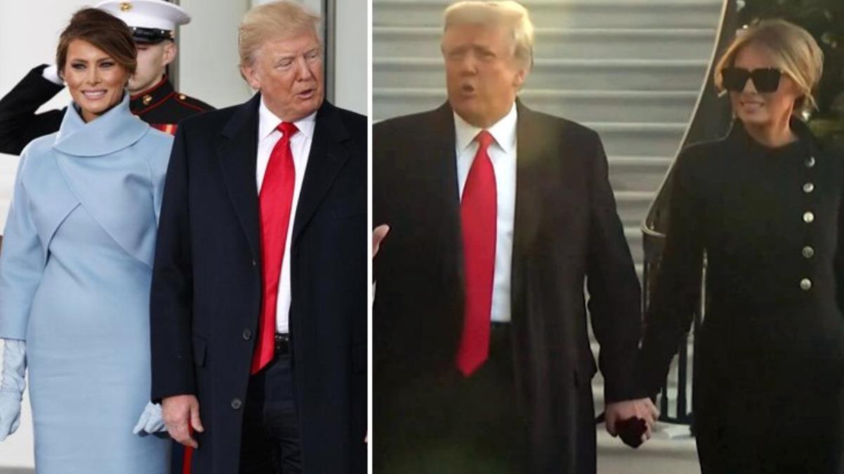 Beyaz Saray'a veda eden Melania Trump'ın simsiyah giyinmesi dikkat çekti