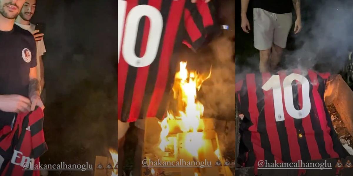 Bir Grup Milan Taraftarı Milli Futbolcumuz Hakan Çalhanoğlu'nun Formasını Ateşe Verdi