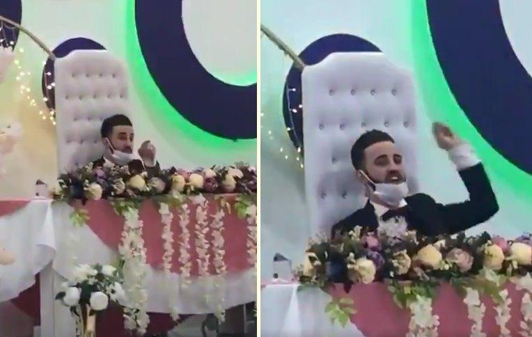 Bu Nasıl Düğün? Pistte Oynayan Kişilere Leblebi Fırlatan Damat