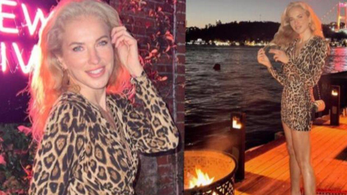 Burcu Esmersoy'un leopar elbisesiyle verdiği poza beğeni yağdı