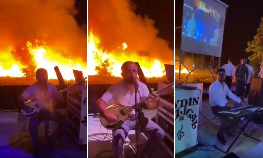 Burdur'da Arkasındaki Sazlık Alan Yanarken Müziğini Yapmaya Devam Eden Orkestra