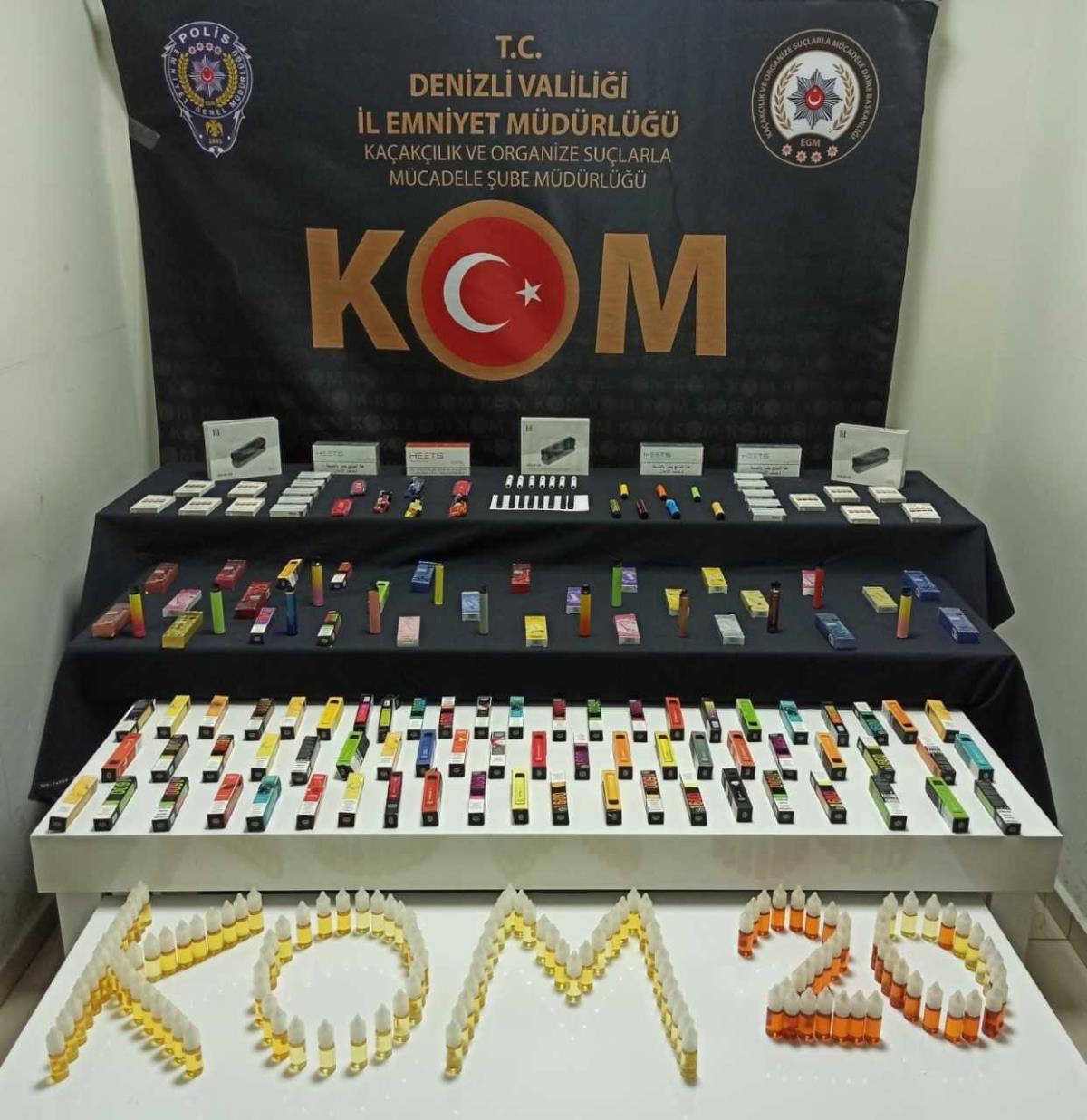Denizli merkezli kaçak elektronik sigara operasyonunda 1 kişi tutuklandı