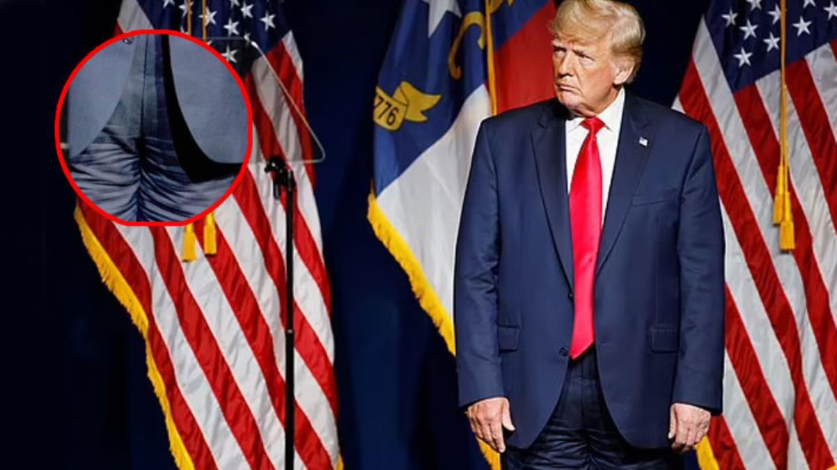 Dünya bu kareyi konuşuyor! Pantolonunu ters giyen Trump, alay konusu oldu
