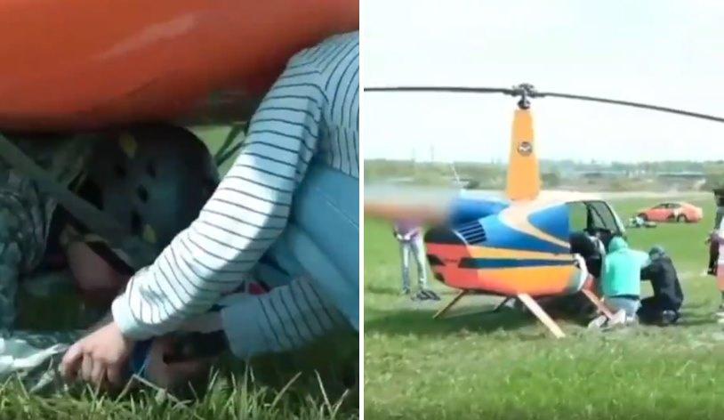 Dünyanın Adana'sı Rusya'dan İlginç Olay: Arkadaşını Helikopterin Altına Bantlayıp Uçtu