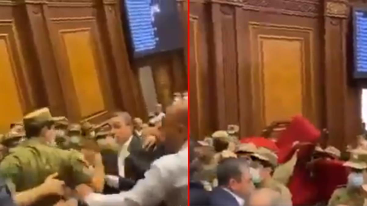 Ermenistan parlamentosunda Paşinyan konuştuğu sırada kavga çıktı! Meclis bir anda karıştı