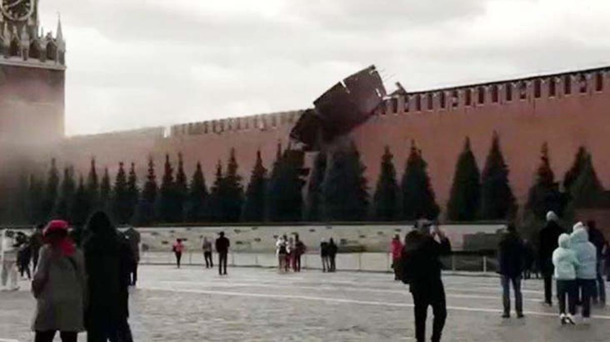 Fırtına Kremlin'de kurulan iskeleyi çökertti, Kızıl Meydan ziyarete kapatıldı