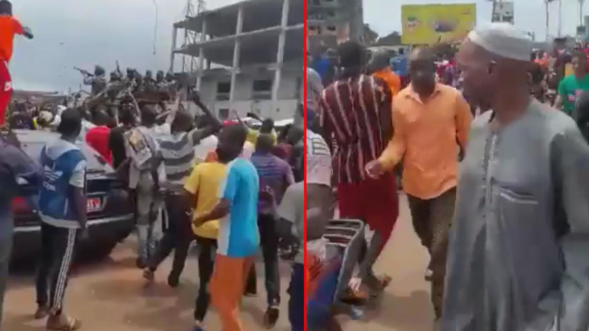 Gine devlet televizyonundaki darbe açıklaması sonrası halk sokaklarda kutlama yaptı