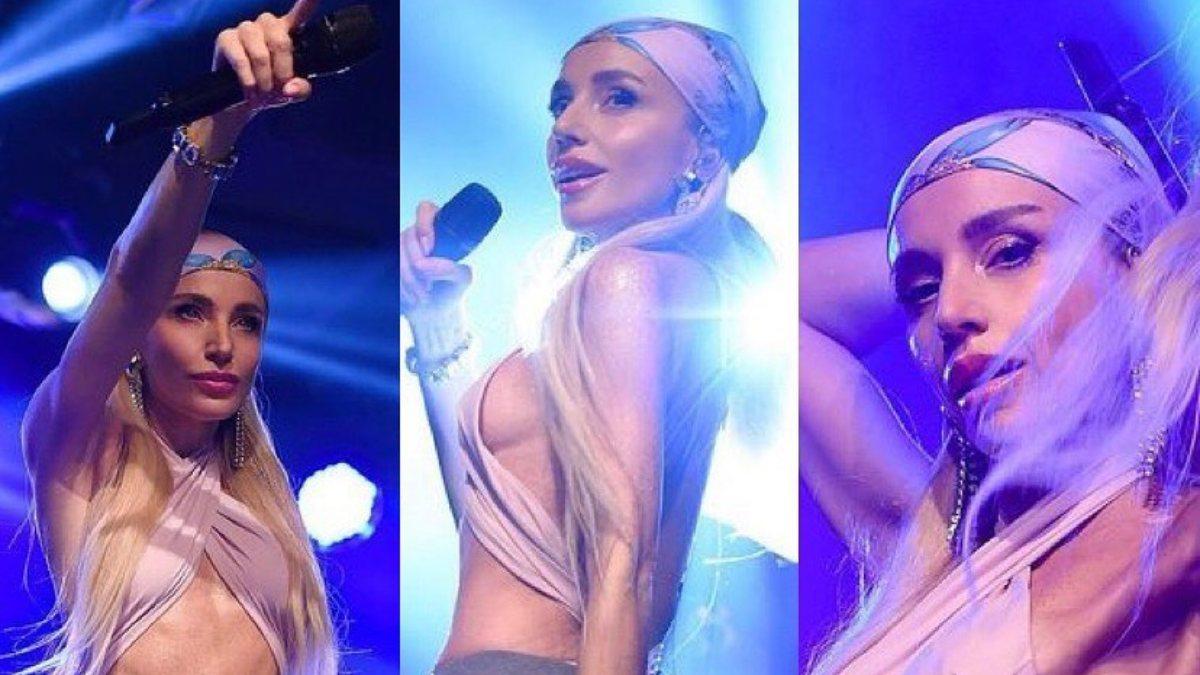 Gülşen yine sahneye iddialı bir kıyafetle çıktı