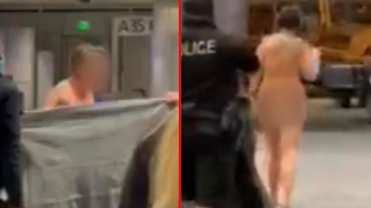 Havalimanında herkesin içinde çırılçıplak gezen kadın şaşkınlığa neden oldu