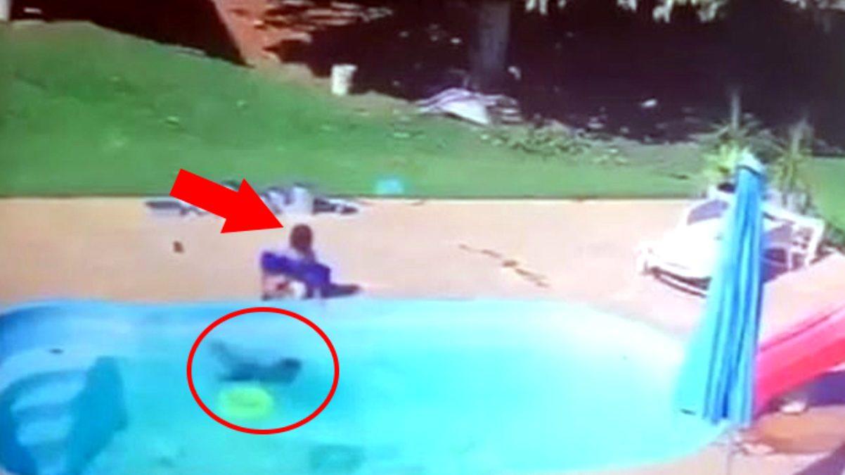 Havuza düşen bir yaşındaki çocuğu arkadaşı böyle kurtardı