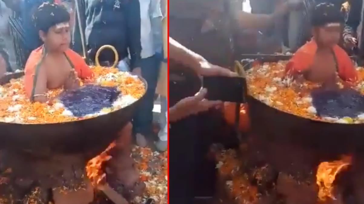 Hindistan'da kaynayan suda rahatça oturan çocuğun videosu sosyal medyada şaşkınlık yarattı