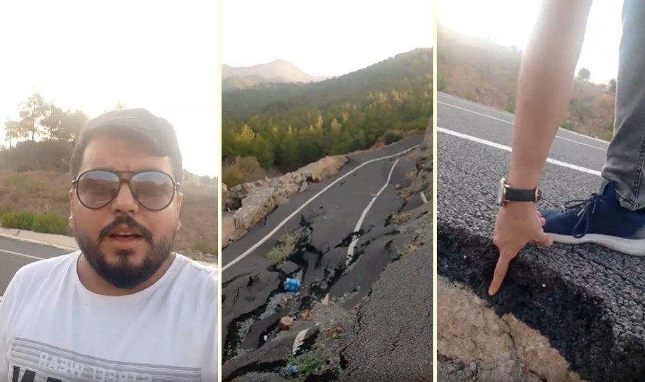 İlave TV Kanalının Tanınan Yüzü Arif Kocabıyık, Mersin-Antalya Yolunda Göçen Yolu Eleştirdi: 'Sürekli Diyorlar ya Yol Yapıyoruz, İşte Bu'