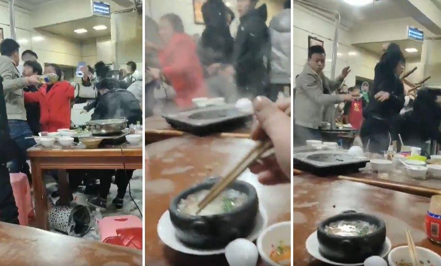 İnsanların Birbirleri Üzerinde Sandalye Kırdığı Restoranda Yemek Yemeye Devam Eden Dünyanın En Rahat İnsanı
