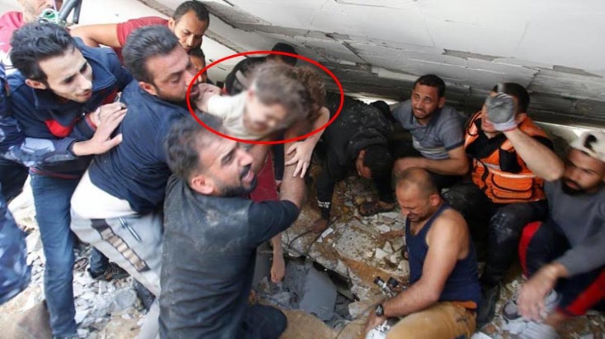 İsrail'in bombaları evini yıktı, Filistinli küçük kız 7 saatin ardından enkazdan böyle çıkarıldı