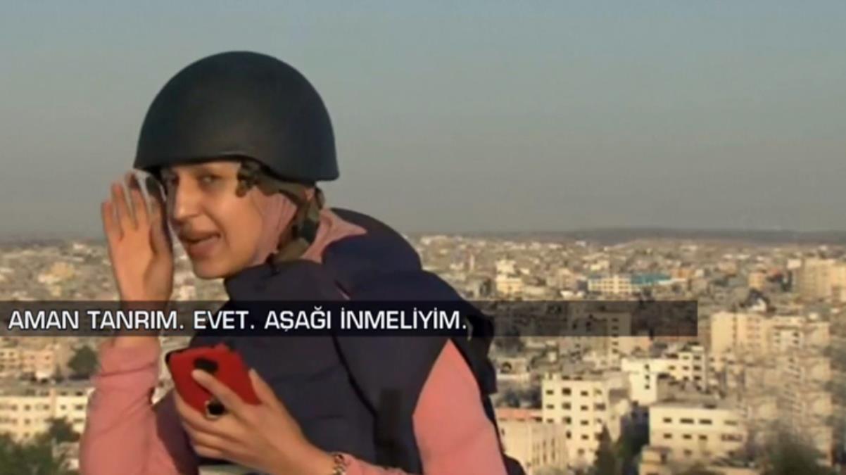 İsrail'in bombardımanına canlı yayında yakalanan kadın muhabirin zor anları