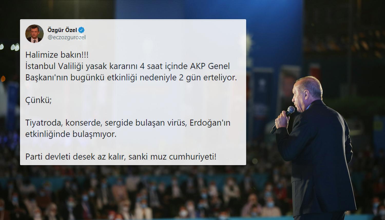İstanbul'daki Yasakların AKP'nin '100 Bin Yeni Üye' Etkinliği İçin Ertelenmesine Tepkiler