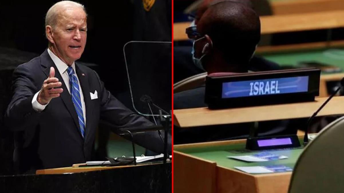Joe Biden'ın BM Genel Kurulu'ndaki konuşması sırasında İsrail heyetine ayrılan koltukların boş kalması dikkat çekti