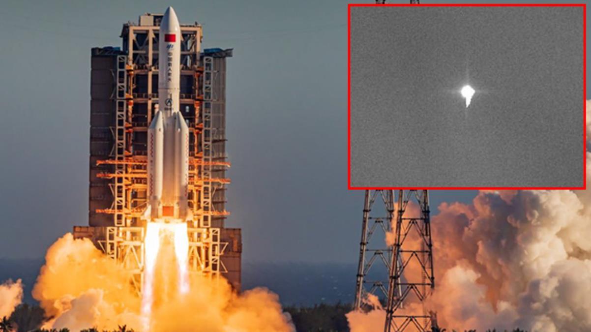 Kontrolden çıkan ve Dünya'ya düşeceği açıklanan dev roket ilk kez görüntülendi