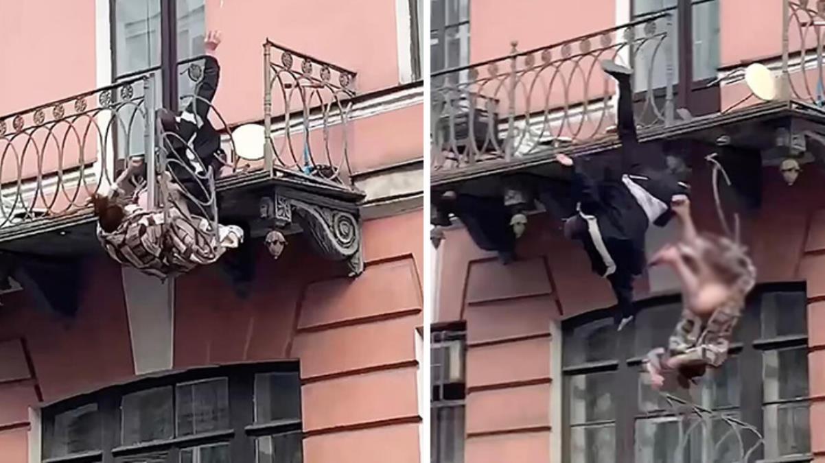 Korkuluk kırıldı, kavga eden çift balkondan düştü! O anlar kamerada