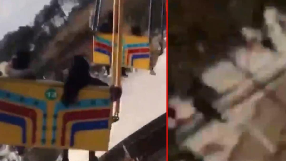 Lunaparkta korkunç kaza! Salıncaklar yere düştü, kaza anı amatör kameraya yansıdı