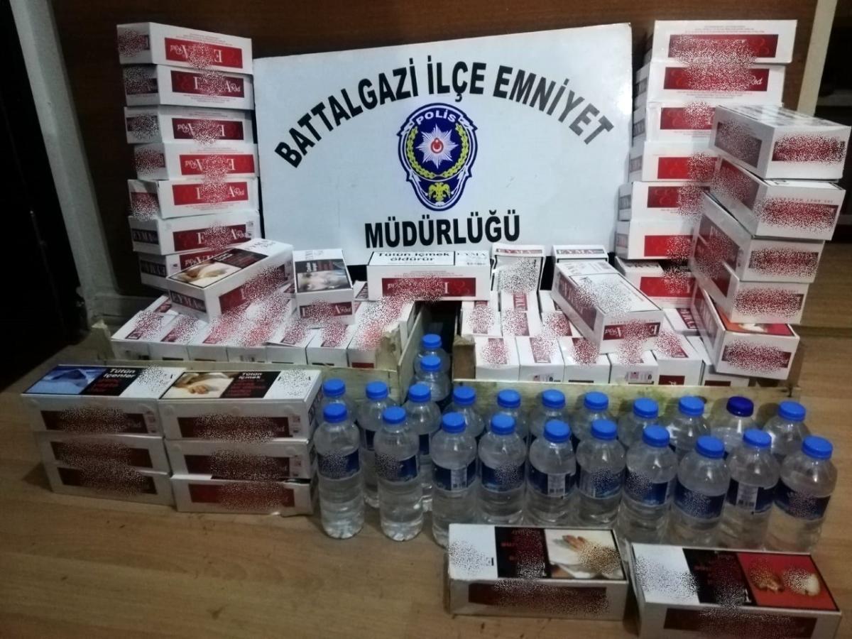 Malatya'da kaçak alkol ve sigara operasyonu