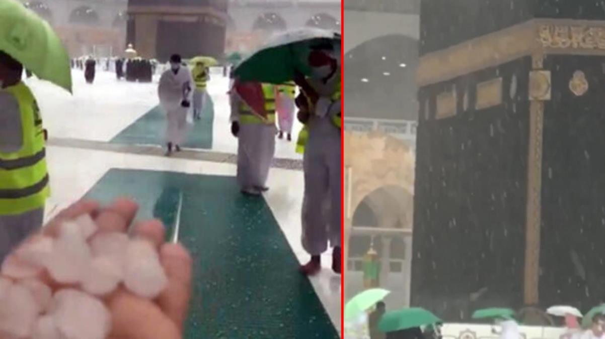 Mekke'ye ceviz büyüklüğünde dolu yağdı! Müslümanlar Kabe'yi yoğun yağış altında tavaf etti