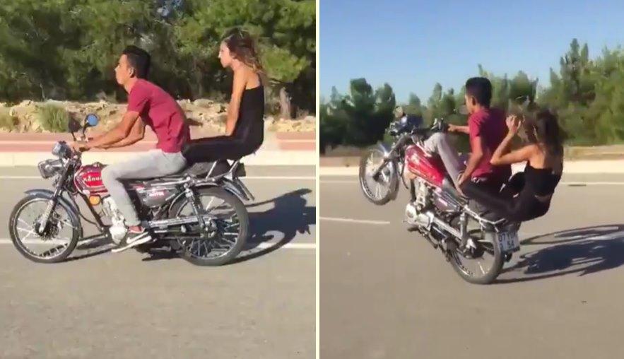 Motosiklet ile Tek Teker Üzerinde Tehlikeli Hareketler Yapan Gençler