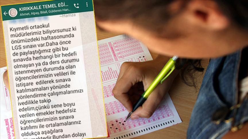 Okul Müdürlerine Talimat: 'Hedefi Olmayan Öğrenciler LGS'ye Girmesin, Ortalamanız Düşüyor'