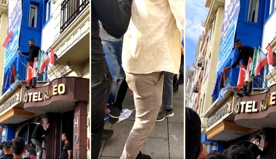 Otelin Girişindeki Fransa Bayrağını İndirmek İsteyen Suriyeliler Rusya Bayrağını İndirip Üzerine Bastılar