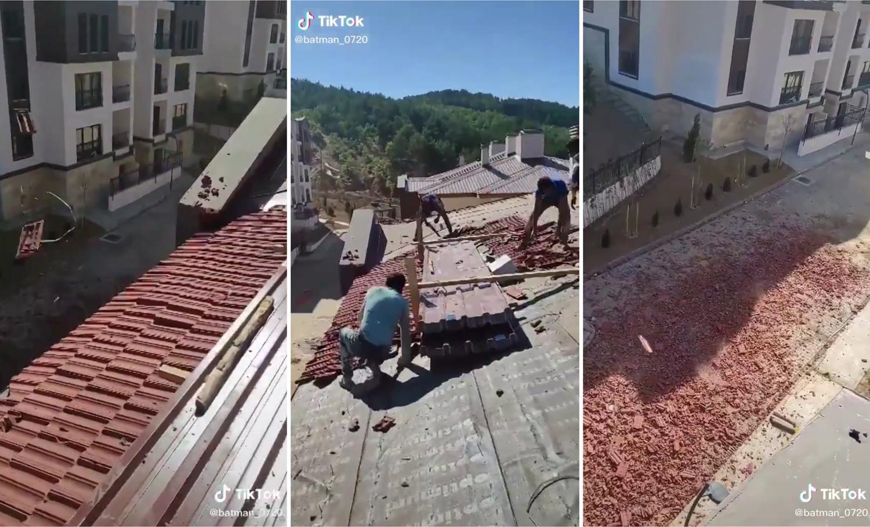 'Paramızı Alamıyoruz' Diyen İşçiler Villanın Kiremitlerini Söküp Yere Attı: 'Al Sana Çatı!'