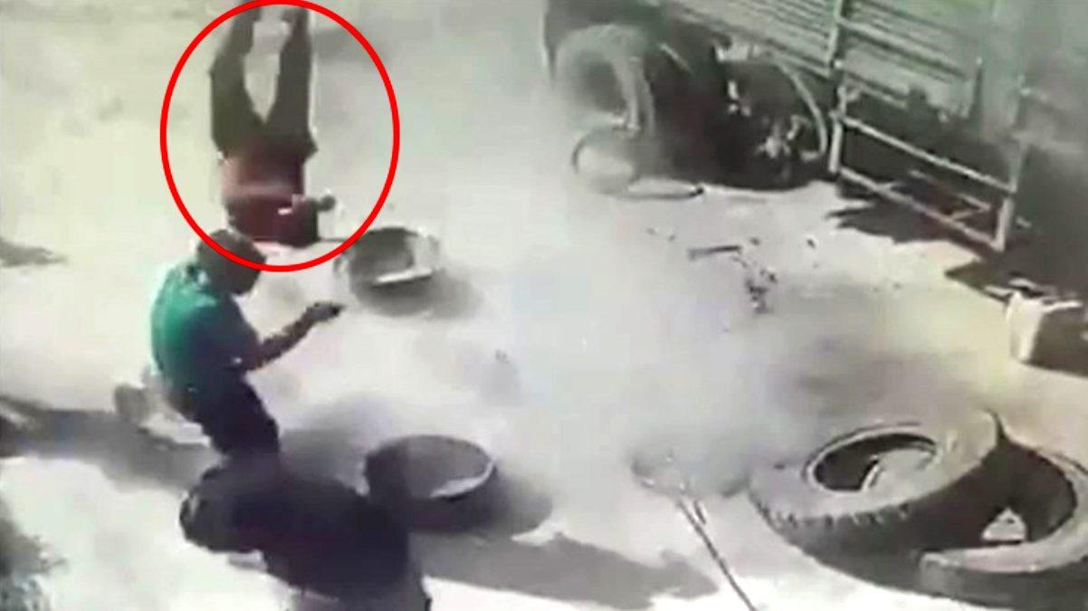 Patlayan kamyon lastiği tamirciyi havaya uçurdu
