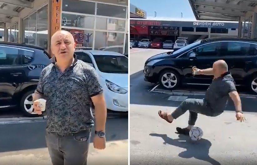 Penaltı Atan Futbolculara 'Salak' Deyip Top ile Hareket Çekerken Yere Kapaklanan Sinan Engin Görünümlü Dayı