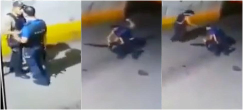 Polis, Bekçiyi Dövdü: Yol Ortasındaki Yumruk Yumruğa Kavga Kameralara Yansıdı!