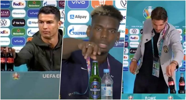 Ronaldo'nun Yaptığı Hareket Akıma Dönüştü: Pogba, Heineken, Locatelli ise Coca-Cola Şişelerini Kaldırdı