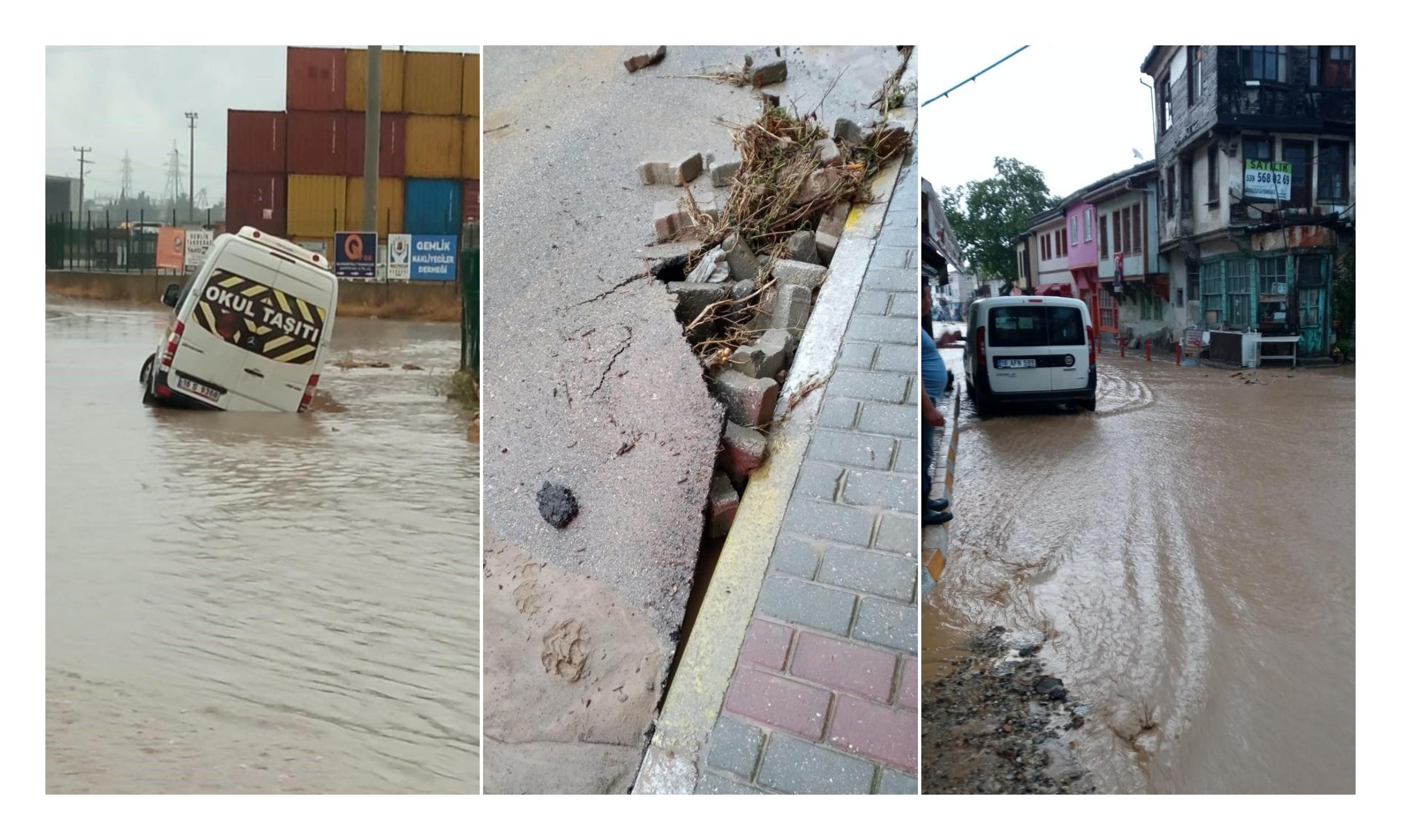 Sağanak Yağış ve Dolu Bursa'yı Vurdu: Caddeler Göle Döndü, Ev ve İşyerlerini Su Bastı