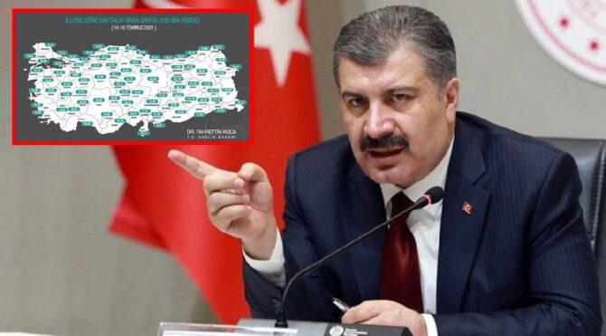 Sağlık Bakanı Fahrettin Koca il il açıkladı! İşte vaka sayısı en çok artan iller