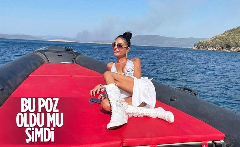 Süreyya Yalçın, Bodrum'da yangının olduğu bölgede poz verdi