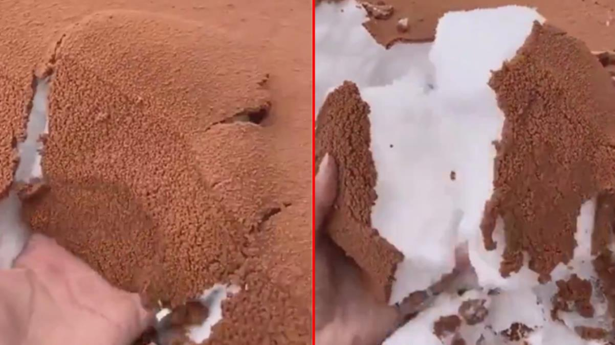 Suudi Arabistan'da şaşkına çeviren görüntü: Karın üzeri kumla kaplandı, koca çöl çikolatalı pastaya döndü