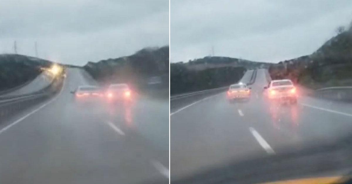 Trafikte Tehlikeli İnatlaşma! Birbirlerine Çarpa Çarpa İlerlediler