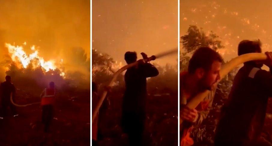 Ünlü Oyuncu İbrahim Çelikkol, Termik Santrale Yaklaşan Yangına Müdahale Ediyor