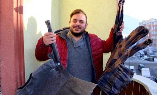 -12 Dereceyi Gören Erzurum'da Balkona Asılan Kıyafet Dondu!